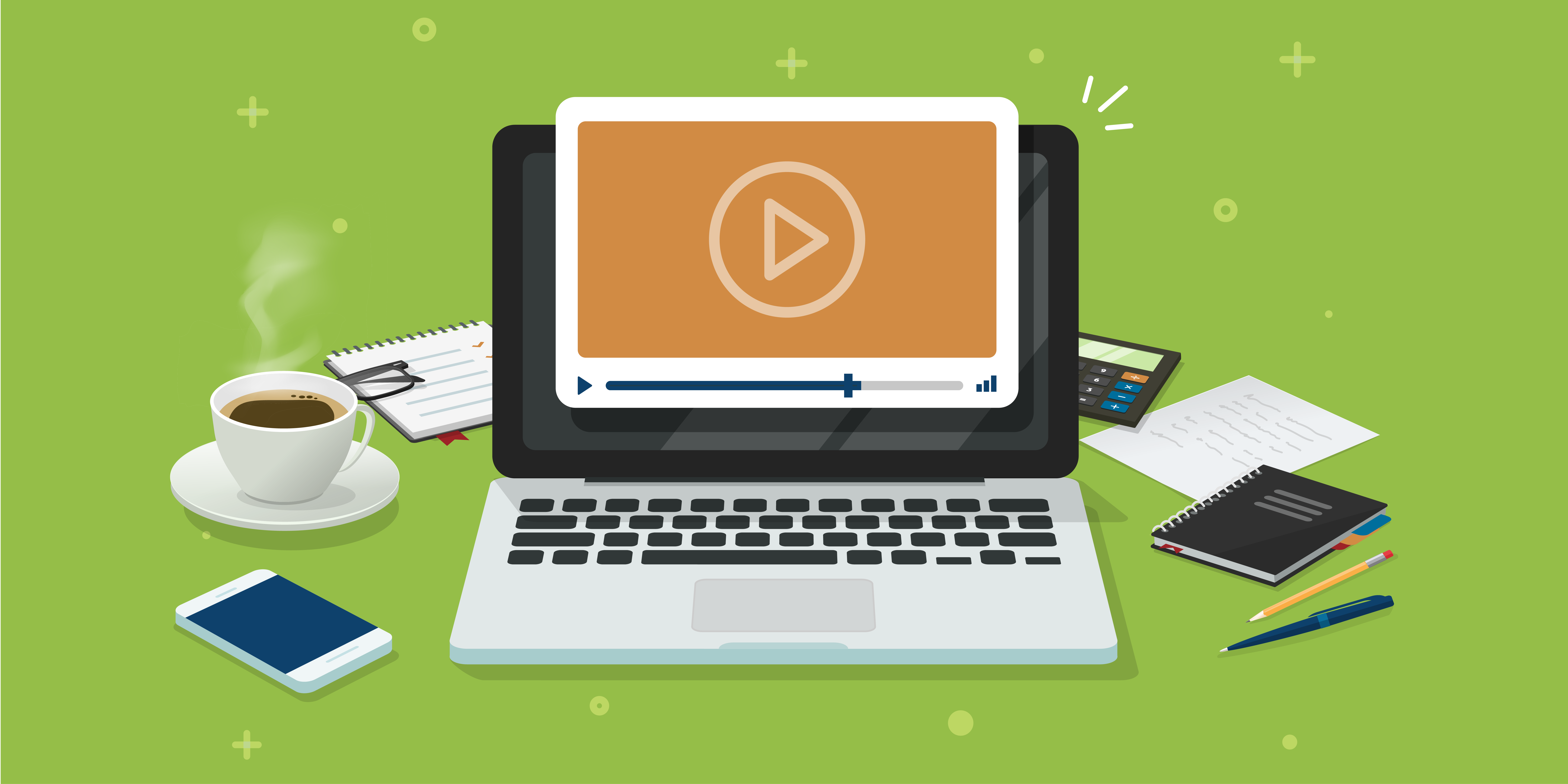 Computer playing an online training video.
