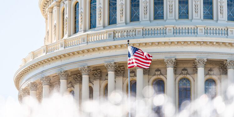 American flag flying in front of Congress